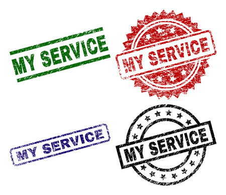 MY SERVICE seal prints with damaged surface. Black, green,red,blue vector rubber prints of MY SERVICE title with dirty surface. Rubber seals with circle, rectangle, rosette shapes. 일러스트