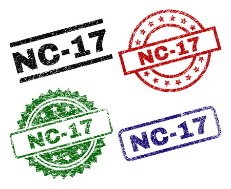 NC-17 seal prints with distress texture. Black, green,red,blue vector rubber prints of NC-17 caption with grunge texture. Rubber seals with round, rectangle, medal shapes. Illustration