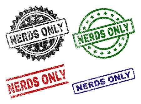 NERDS ONLY seal prints with damaged surface. Black, green,red,blue vector rubber prints of NERDS ONLY text with grunge surface. Rubber seals with circle, rectangle, medal shapes. 일러스트