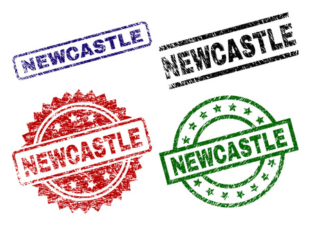 NEWCASTLE seal prints with damaged surface. Black, green,red,blue vector rubber prints of NEWCASTLE caption with grunge surface. Rubber seals with circle, rectangle, rosette shapes. Illustration