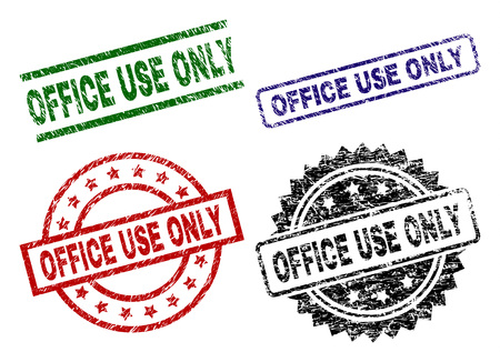 OFFICE USE ONLY seal imprints with corroded surface. Black, green,red,blue vector rubber prints of OFFICE USE ONLY caption with corroded style. Rubber seals with circle, rectangle, medal shapes.