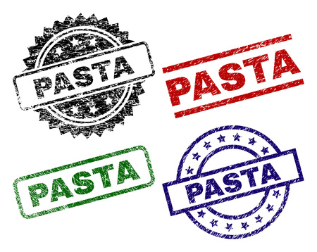 PASTA seal prints with corroded style. Black, green,red,blue vector rubber prints of PASTA tag with corroded texture. Rubber seals with round, rectangle, rosette shapes. Illustration
