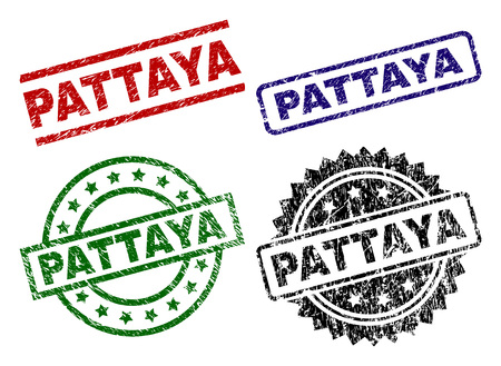 PATTAYA seal prints with corroded texture. Black, green,red,blue vector rubber prints of PATTAYA label with dirty texture. Rubber seals with round, rectangle, medal shapes.
