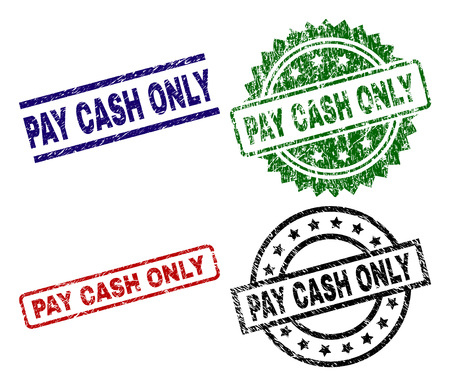 PAY CASH ONLY seal prints with damaged style. Black, green,red,blue vector rubber prints of PAY CASH ONLY label with scratched style. Rubber seals with circle, rectangle, rosette shapes.