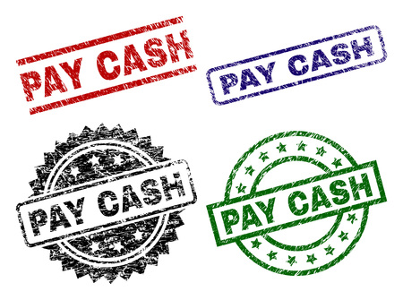 PAY CASH seal prints with corroded surface. Black, green,red,blue vector rubber prints of PAY CASH title with unclean surface. Rubber seals with round, rectangle, medal shapes.