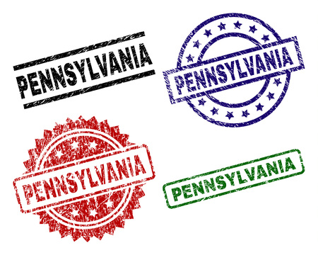 PENNSYLVANIA seal prints with corroded style. Black, green,red,blue vector rubber prints of PENNSYLVANIA tag with dirty style. Rubber seals with round, rectangle, rosette shapes.  イラスト・ベクター素材