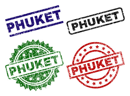 PHUKET seal prints with distress texture. Black, green,red,blue vector rubber prints of PHUKET caption with grunge texture. Rubber seals with circle, rectangle, medallion shapes.