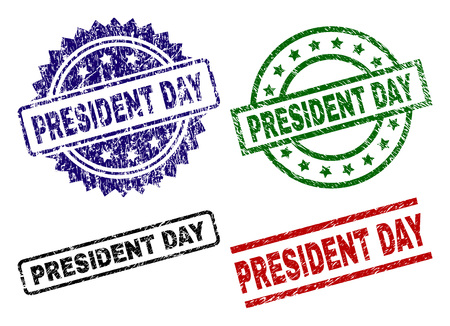 PRESIDENT DAY seal prints with damaged texture. Black, green,red,blue vector rubber prints of PRESIDENT DAY title with dirty texture. Rubber seals with circle, rectangle, medal shapes. Vektoros illusztráció