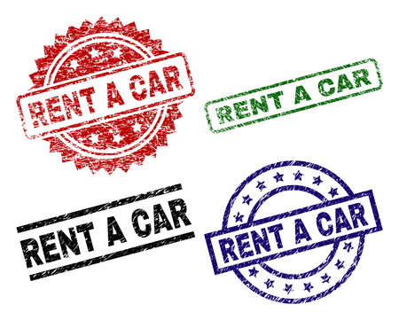 RENT A CAR seal prints with corroded surface. Black, green,red,blue vector rubber prints of RENT A CAR tag with scratched surface. Rubber seals with circle, rectangle, medallion shapes.
