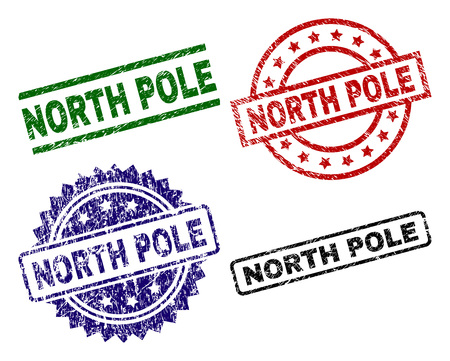 NORTH POLE seal prints with corroded style. Black, green,red,blue vector rubber prints of NORTH POLE tag with retro style. Rubber seals with circle, rectangle, medallion shapes.