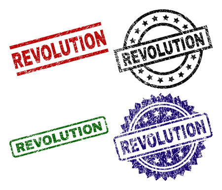 REVOLUTION seal prints with distress style. Black, green,red,blue vector rubber prints of REVOLUTION title with dirty surface. Rubber seals with circle, rectangle, medal shapes. Illustration