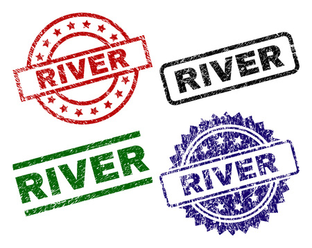 RIVER seal prints with distress surface. Black, green,red,blue vector rubber prints of RIVER label with grunge surface. Rubber seals with round, rectangle, rosette shapes.