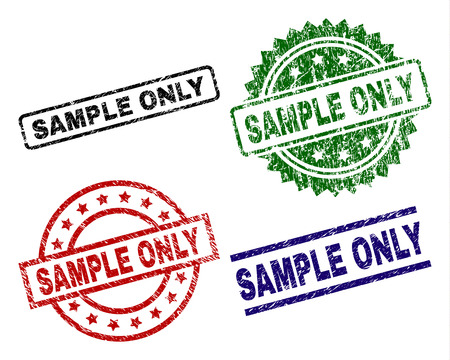 SAMPLE ONLY seal stamps with corroded style. Black, green,red,blue vector rubber prints of SAMPLE ONLY title with corroded style. Rubber seals with circle, rectangle, rosette shapes. 矢量图像