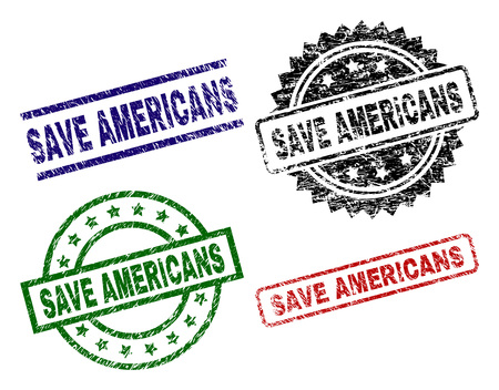 SAVE AMERICANS seal prints with distress style. Black, green,red,blue vector rubber prints of SAVE AMERICANS caption with scratched style. Rubber seals with circle, rectangle, rosette shapes.