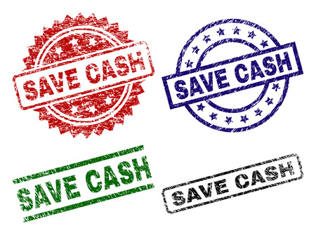 SAVE CASH seal imprints with corroded style. Black, green,red,blue vector rubber prints of SAVE CASH caption with corroded style. Rubber seals with round, rectangle, rosette shapes.