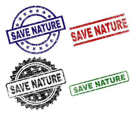 SAVE NATURE seal prints with corroded style. Black, green,red,blue vector rubber prints of SAVE NATURE title with scratched style. Rubber seals with circle, rectangle, rosette shapes.