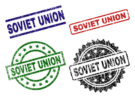SOVIET UNION seal prints with corroded texture. Black, green,red,blue vector rubber prints of SOVIET UNION caption with unclean texture. Rubber seals with circle, rectangle, rosette shapes.