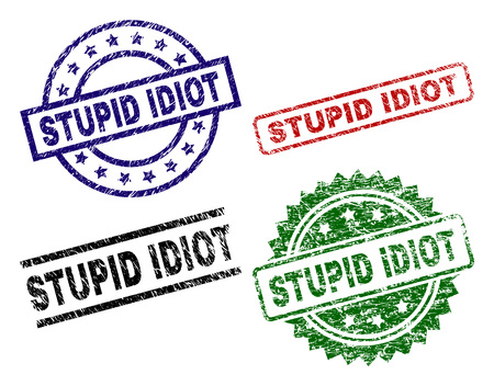 STUPID IDIOT seal prints with distress style. Black, green,red,blue vector rubber prints of STUPID IDIOT tag with corroded style. Rubber seals with circle, rectangle, medal shapes. Ilustração