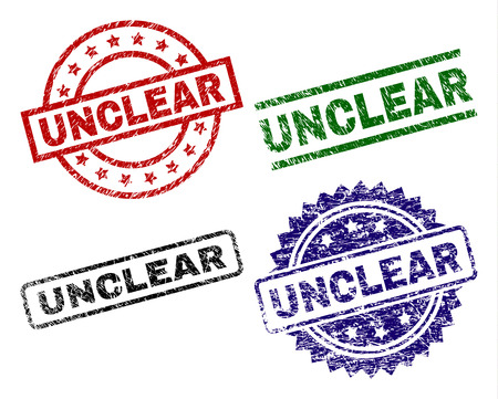 UNCLEAR seal prints with corroded surface. Black, green,red,blue vector rubber prints of UNCLEAR caption with dirty surface. Rubber seals with circle, rectangle, medallion shapes.