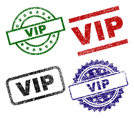 VIP seal stamps with corroded texture. Black, green,red,blue vector rubber prints of VIP tag with corroded texture. Rubber seals with round, rectangle, medallion shapes.