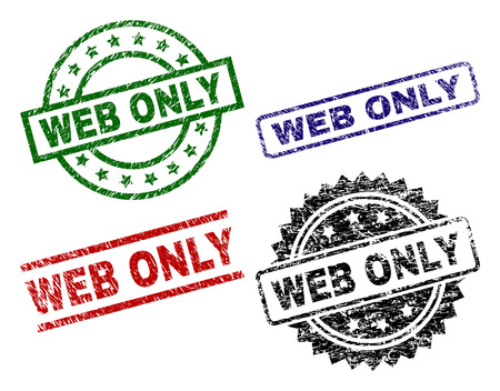 WEB ONLY seal prints with damaged texture. Black, green,red,blue vector rubber prints of WEB ONLY text with retro texture. Rubber seals with circle, rectangle, rosette shapes.
