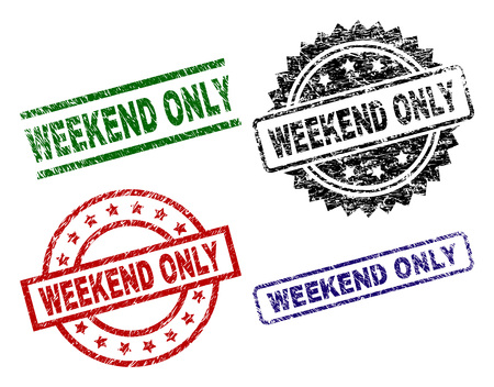 WEEKEND ONLY seal prints with distress texture. Black, green,red,blue vector rubber prints of WEEKEND ONLY label with grunge texture. Rubber seals with circle, rectangle, medallion shapes.
