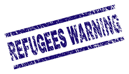 REFUGEES WARNING seal print with grunge style. Blue vector rubber print of REFUGEES WARNING title with unclean texture. Text title is placed between parallel lines. 向量圖像