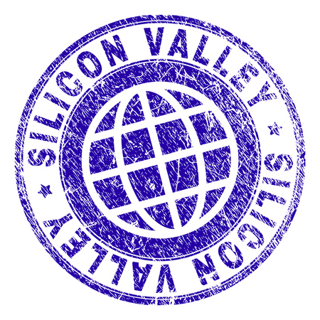 SILICON VALLEY stamp imprint with grunge texture. Blue vector rubber seal imprint of SILICON VALLEY title with dirty texture. Seal has words placed by circle and globe symbol.