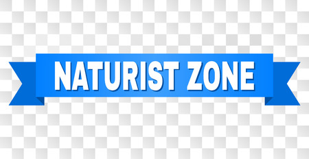 NATURIST ZONE text on a ribbon. Designed with white title and blue tape. Vector banner with NATURIST ZONE tag on a transparent background. Illustration