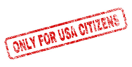 ONLY FOR USA CITIZENS stamp seal print with grunge style. Red vector rubber print of ONLY FOR USA CITIZENS text with dirty texture. Text caption is placed inside rounded rectangle frame.