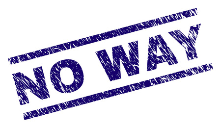 NO WAY seal print with scratced style. Blue vector rubber print of NO WAY label with grunge texture. Text caption is placed between parallel lines.