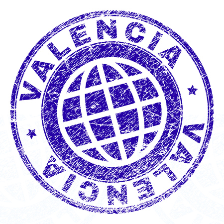 VALENCIA stamp imprint with grunge texture. Blue vector rubber seal imprint of VALENCIA title with corroded texture. Seal has words arranged by circle and globe symbol.