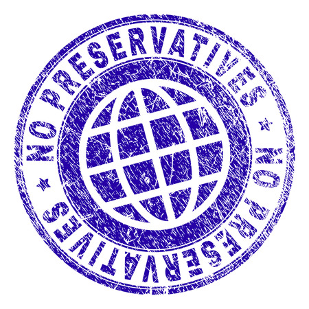 NO PRESERVATIVES stamp imprint with grunge texture. Blue vector rubber seal imprint of NO PRESERVATIVES tag with dust texture. Seal has words arranged by circle and globe symbol.