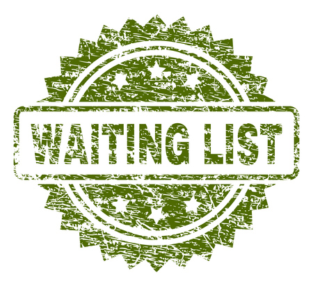 WAITING LIST stamp seal watermark with rubber print style. Green vector rubber print of WAITING LIST label with dust texture. Illustration
