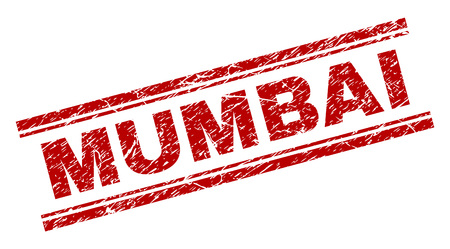 MUMBAI seal print with grunge texture. Red vector rubber print of MUMBAI tag with grunge texture. Text label is placed between double parallel lines.
