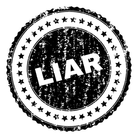 LIAR seal stamp with corroded texture. Black vector rubber print of LIAR label with retro texture. Rubber seal imitation has circle shape and contains stars.