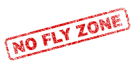 NO FLY ZONE stamp seal print with distress style. Red vector rubber print of NO FLY ZONE text with dirty texture. Text caption is placed inside rounded rectangle frame.