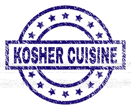 KOSHER CUISINE seal print with grunge texture. Designed with rectangle, circles and stars. Blue vector rubber print of KOSHER CUISINE label with grunge texture.