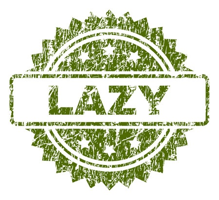 LAZY stamp seal watermark with rubber print style. Green vector rubber print of LAZY tag with grunge texture.