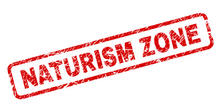NATURISM ZONE stamp seal print with scratced style. Red vector rubber print of NATURISM ZONE text with grunge texture. Text tag is placed inside rounded rectangle frame. Banque d'images - 105898482