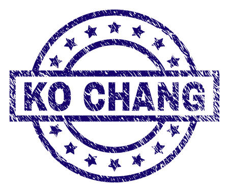 KO CHANG seal print with grunge texture. Designed with rectangle, circles and stars. Blue vector rubber print of KO CHANG caption with dust texture.