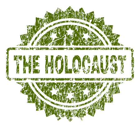 THE HOLOCAUST stamp seal watermark with rubber print style. Green vector rubber print of THE HOLOCAUST text with scratched texture.