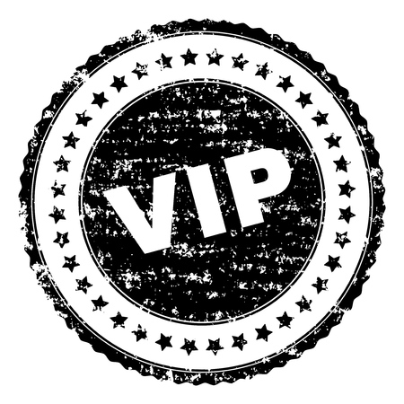 VIP seal print with distress texture. Black vector rubber print of VIP label with scratched texture. Rubber seal imitation has round shape and contains stars.