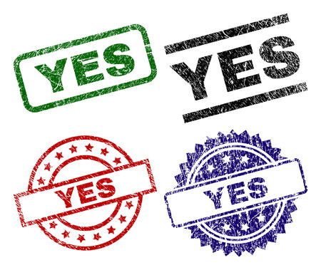 YES seal prints with damaged style. Black, green,red,blue vector rubber prints of YES text with retro style. Rubber seals with circle, rectangle, rosette shapes.