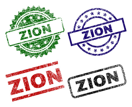 ZION seal prints with corroded surface. Black, green,red,blue vector rubber prints of ZION title with scratched style. Rubber seals with round, rectangle, medal shapes.