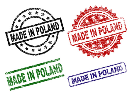 MADE IN POLAND Siegeldrucke mit korrodierter Textur. Schwarze, grüne, rote, blaue Vektorgummidrucke des MADE IN POLAND-Tags mit korrodierter Textur. Gummidichtungen mit runden, rechteckigen, Medaillonformen.