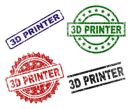 3D PRINTER seal prints with damaged texture. Black, green,red,blue vector rubber prints of 3D PRINTER caption with dirty texture. Rubber seals with circle, rectangle, rosette shapes. Illustration