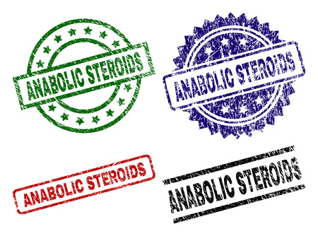 ANABOLIC STEROIDS seal prints with damaged style. Black, green,red,blue vector rubber prints of ANABOLIC STEROIDS text with grunge style. Rubber seals with circle, rectangle, rosette shapes.
