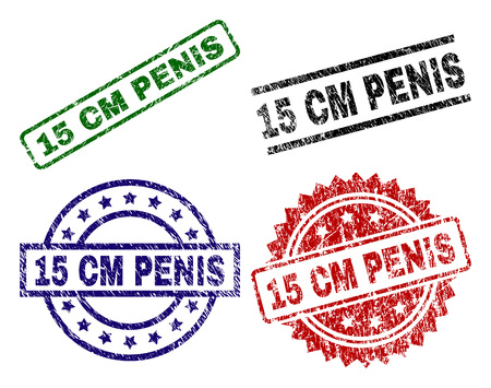 15 CM PENIS seal prints with distress texture. Black, green,red,blue vector rubber prints of 15 CM PENIS label with dirty texture. Rubber seals with round, rectangle, medal shapes.