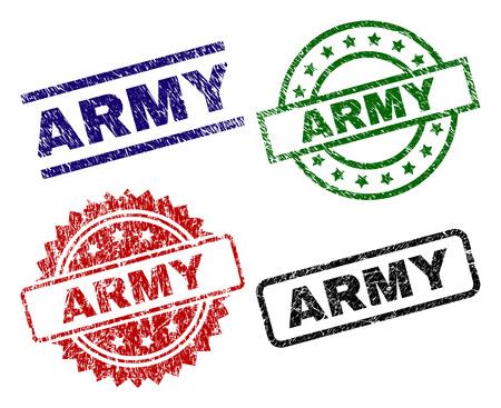 Impresiones de sellos ARMY con superficie corroída. Impresiones de goma de vector negro, verde, rojo, azul de la etiqueta ARMY con estilo corroído. Sellos de goma con forma de círculo, rectángulo, medalla.